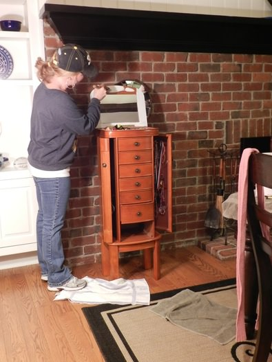 Painting Distressing a Jewelry Armoire Redhead Can Decorate
