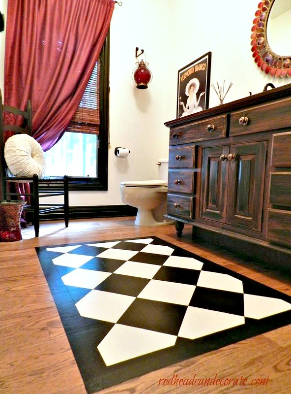 paint a rug on your wood floor redhead can decorate. Black Bedroom Furniture Sets. Home Design Ideas