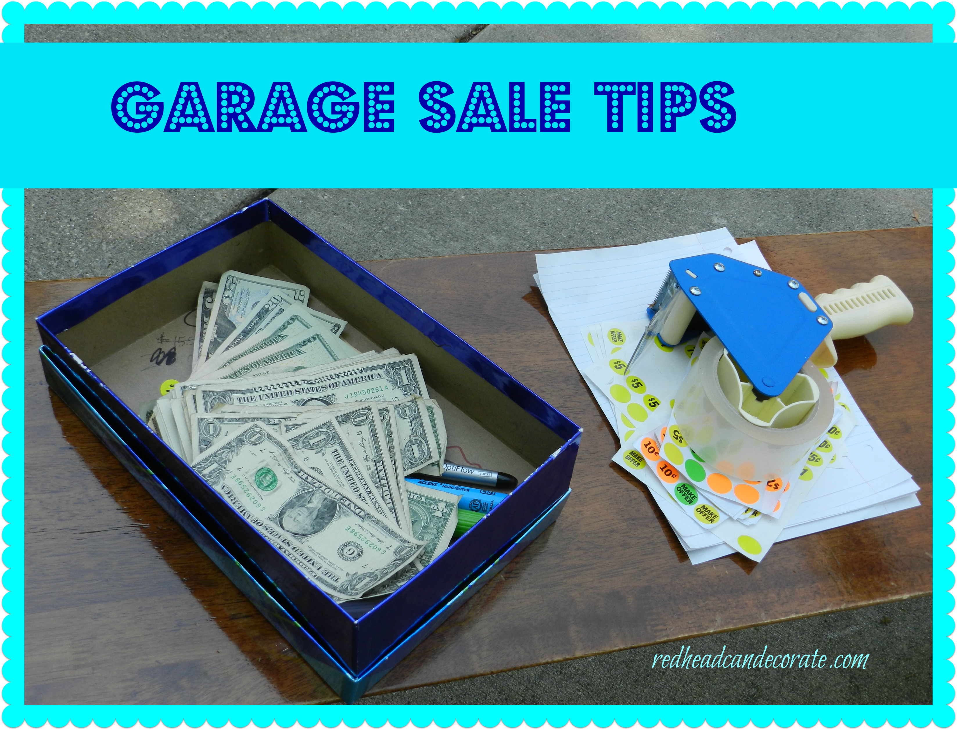 Garage sale tips redhead can decorate for Garage basics