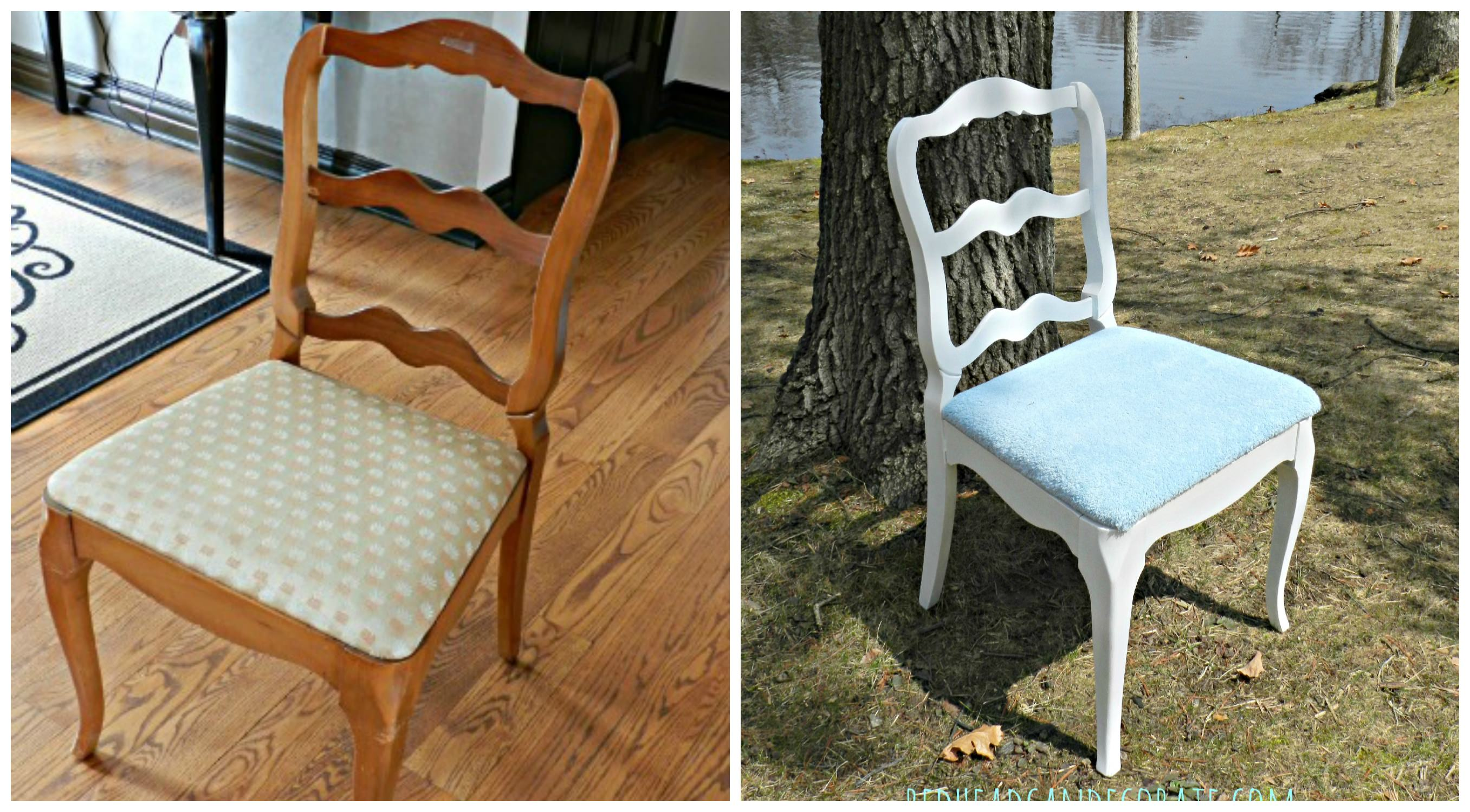 how to reupholster a dining room chair with piping | Reupholstered Dining Room Chair - Redhead Can Decorate