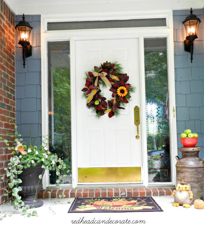 door with wreath