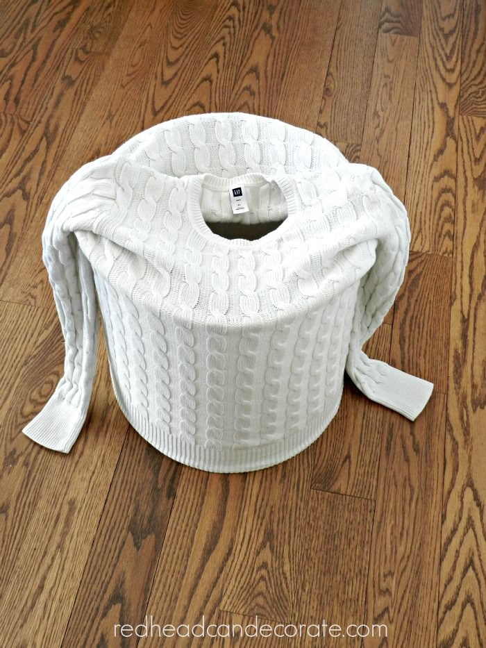 sweater tutorial for lamp shade