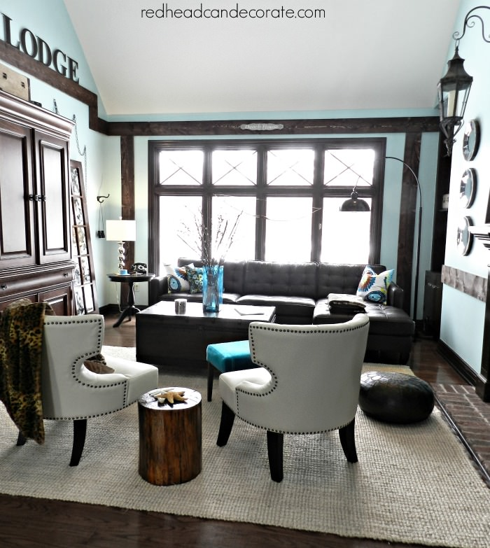 Living Room w: New Brown Leather Sectional