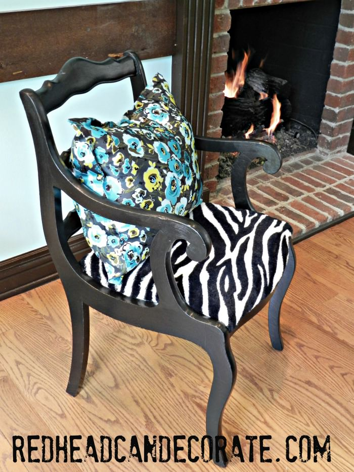 New Sew Pillow & Blanket Reupholstered Chair
