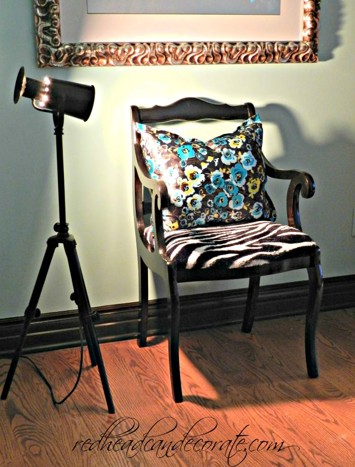 No Sew Pillow & Blanket Reupholstered Chair Redheadcandecorate.com