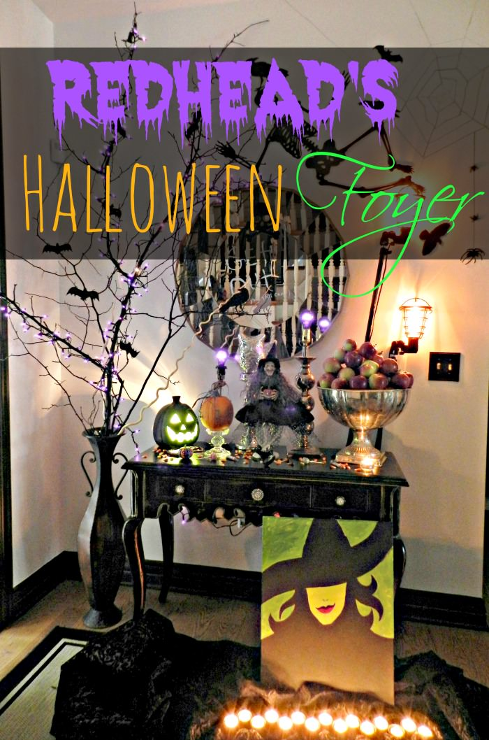 halloween foyer diy spooky branch redhead can
