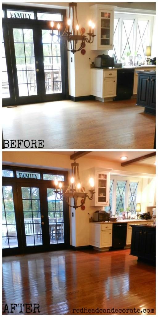 No Sanding - Non Toxic- Wood Floor Refinishing (this is my kitchen)
