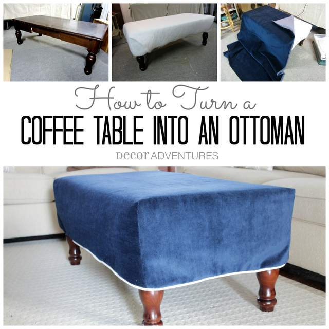 Diy Coffee Table Turned Ottoman By Decor Adventures Redhead Can