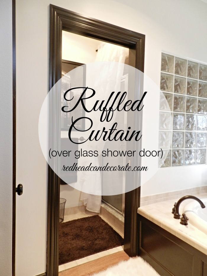 Ruffled Curtain Over Glass Shower Door