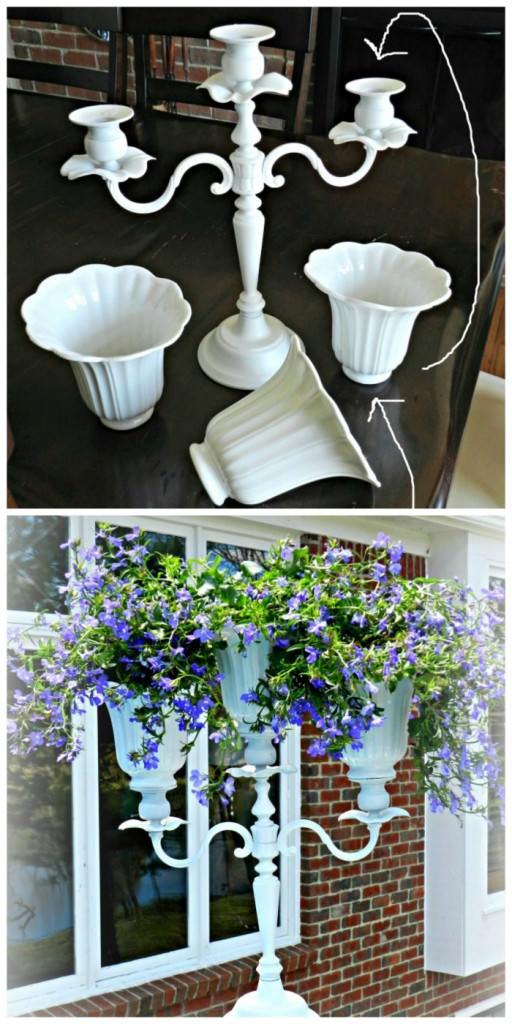 DIY Candelabra Planter by redheadcandecirate.com