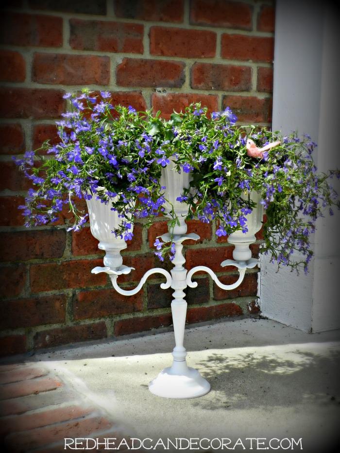 Pretty DIY Candelabra Ceiling Fan Shade Planter