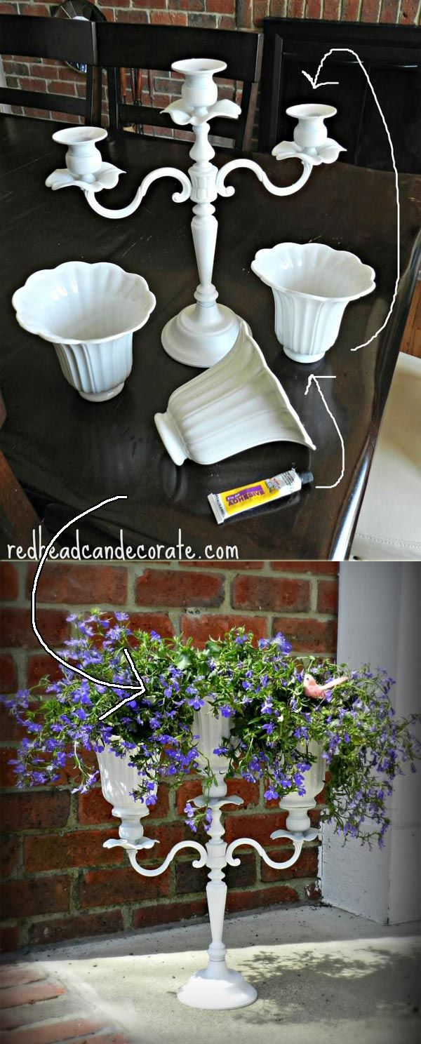 Diy Candelabra Flower Planter With Upcycled Ceiling Fan Shades Redhead Can Decorate