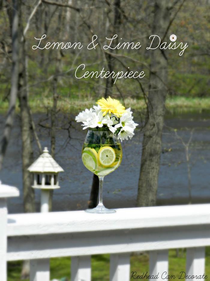 Diy Lemon Amp Lime Daisy Centerpiece Redhead Can Decorate