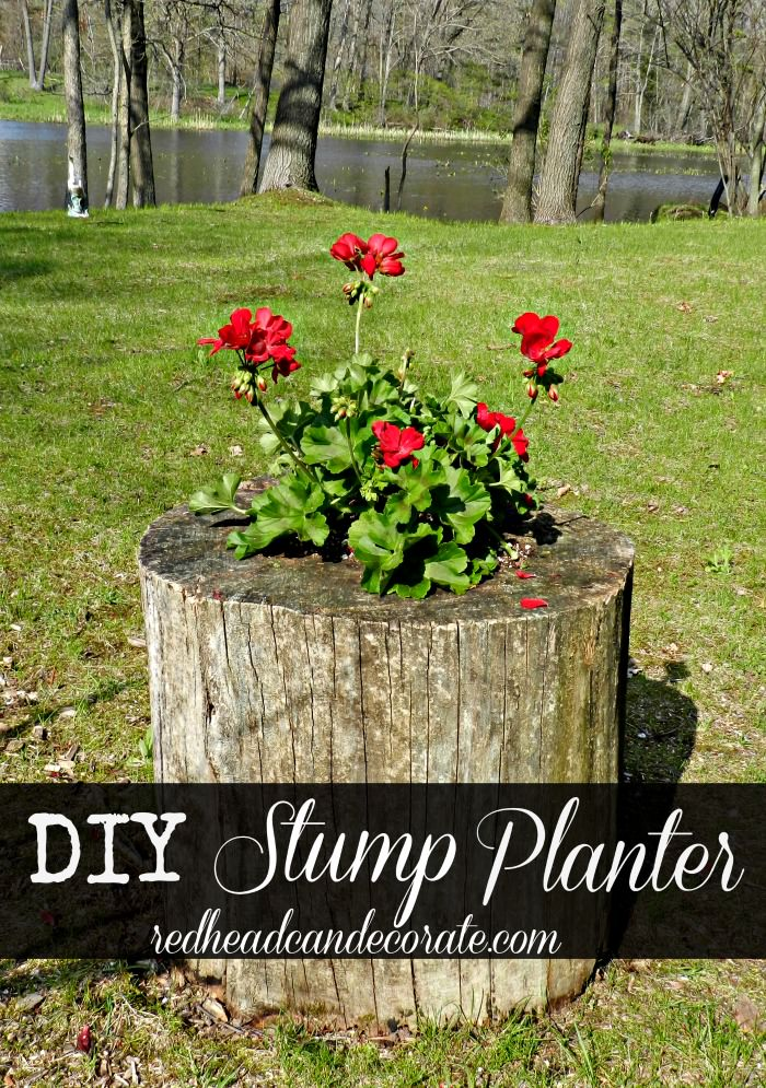 Diy Stump Planter Redhead Can Decorate
