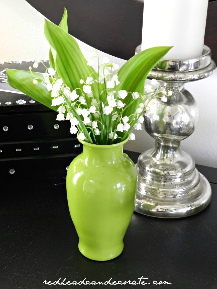 Lily of the Valley in Green Vase