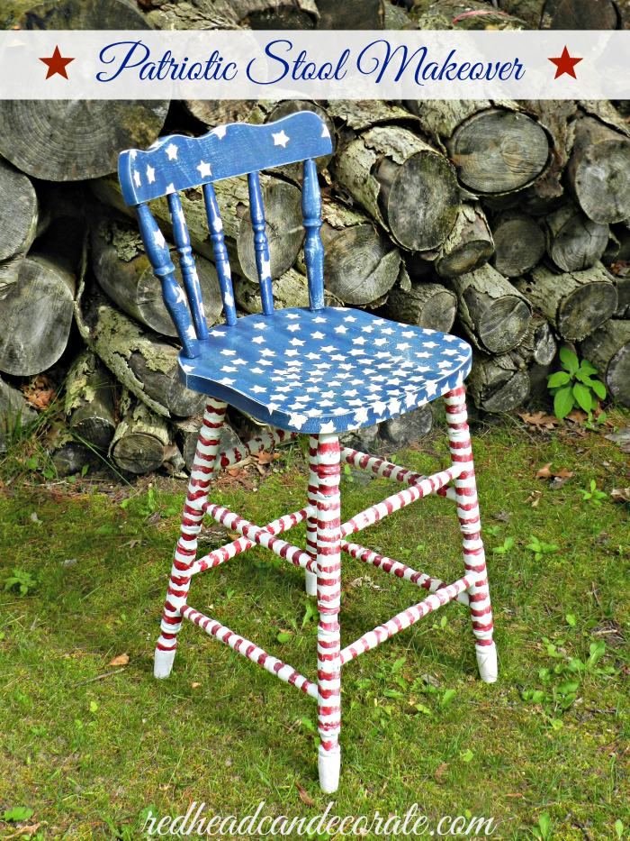 Patriotic Stool Makeover