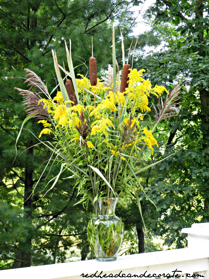 Free Cat Tail & Goldenrod Centerpeice
