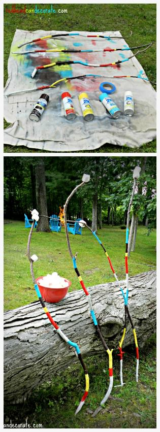 Spray paint some cute Marshmallow Roasting Sticks to use year after year!