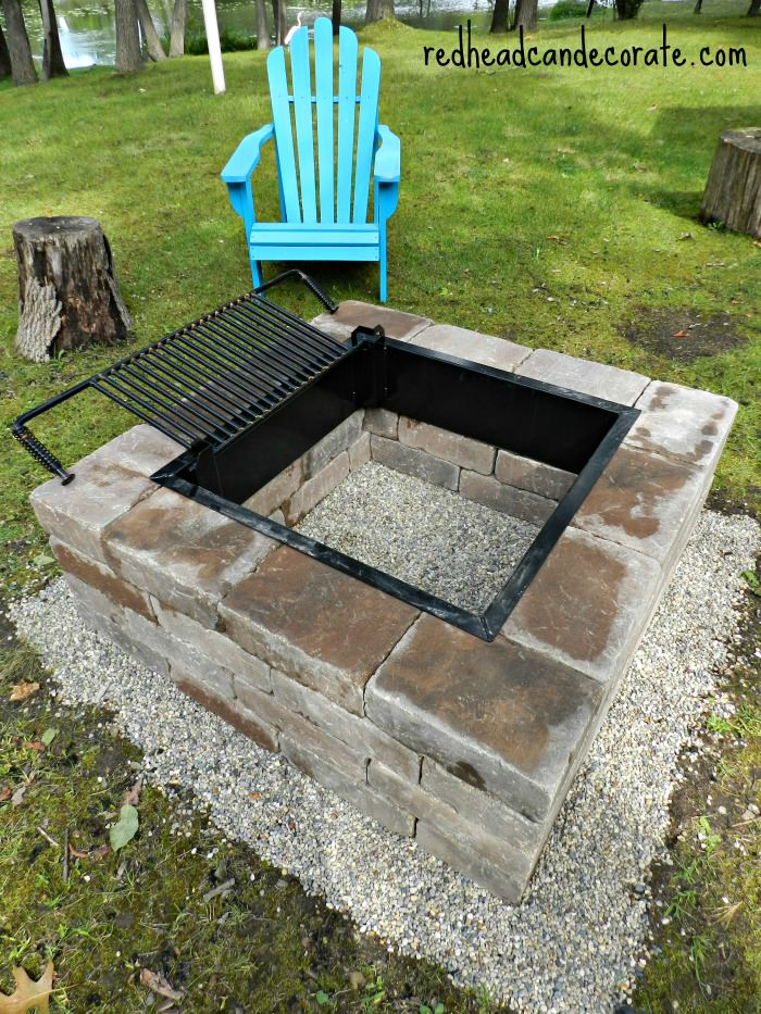 Beautiful DIY Fire Pit w: Grill Insert - Easy DIY Fire Pit Kit With Grill - Redhead Can Decorate
