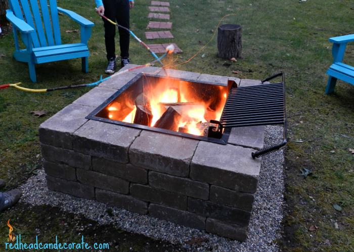 Easy diy fire pit kit with grill redhead can decorate for Easy diy fire pit with grill