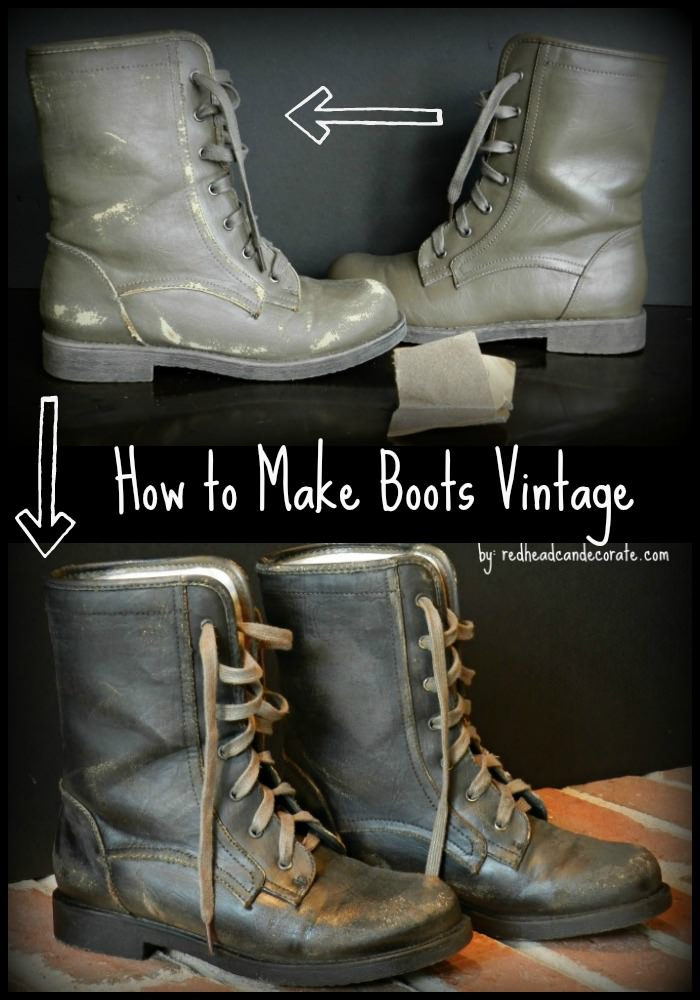 how to make new boots look vintage redhead can decorate. Black Bedroom Furniture Sets. Home Design Ideas