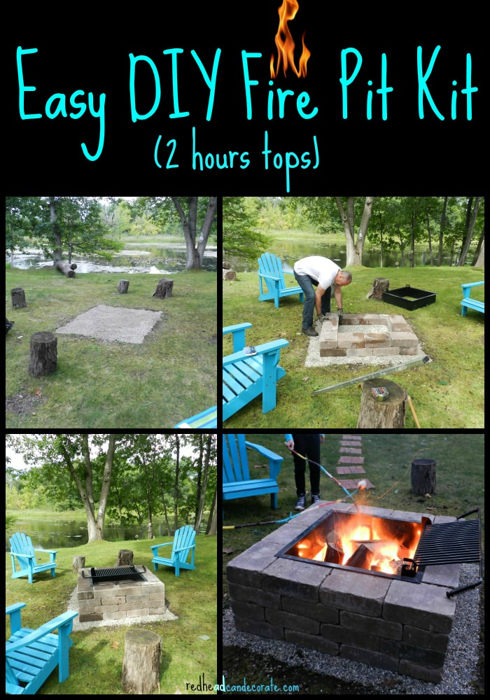 Very easy and fast fire pit kit with grill idea from redheadcandecorate.com. - Easy DIY Fire Pit Kit With Grill - Redhead Can Decorate