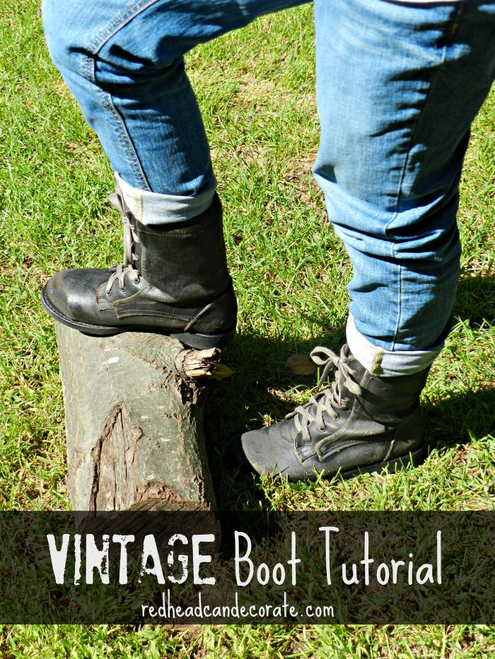 Vintage Boot Tutorial by redheadcandecorate.com