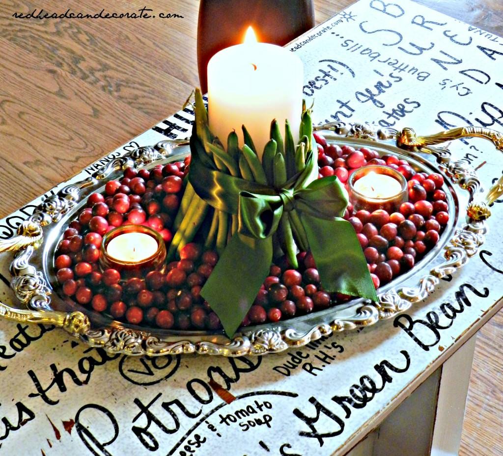Green Bean Thanksging Centerpiece Idea