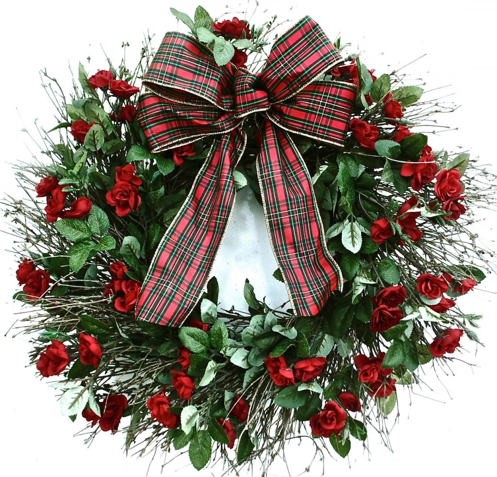 Madeleines Holiday Silk Rose Wreath