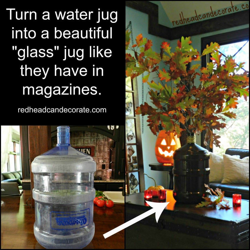 Recycle a water jug by turning it into a vase easily.