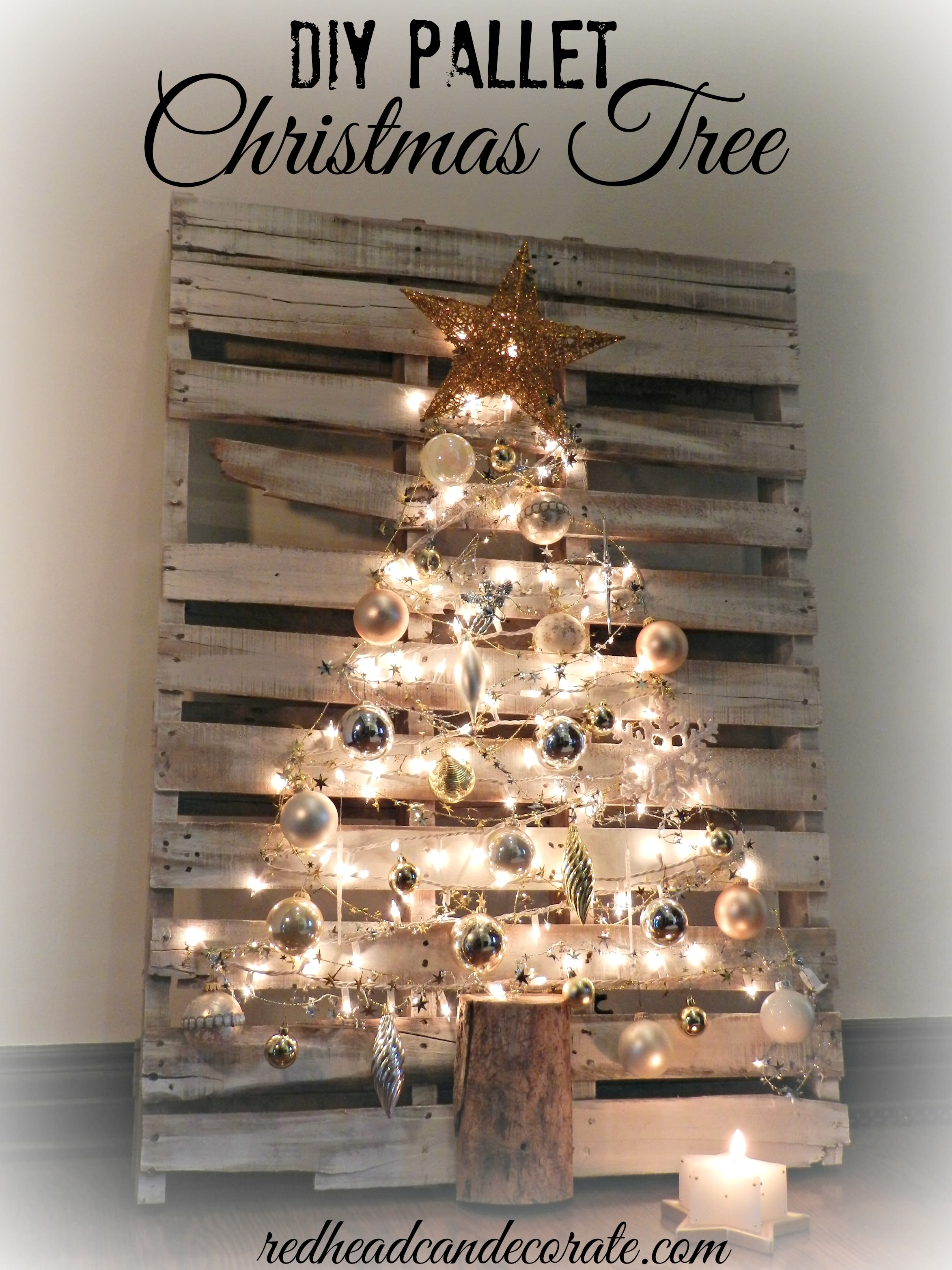 pallet christmas tree redhead can decorate. Black Bedroom Furniture Sets. Home Design Ideas