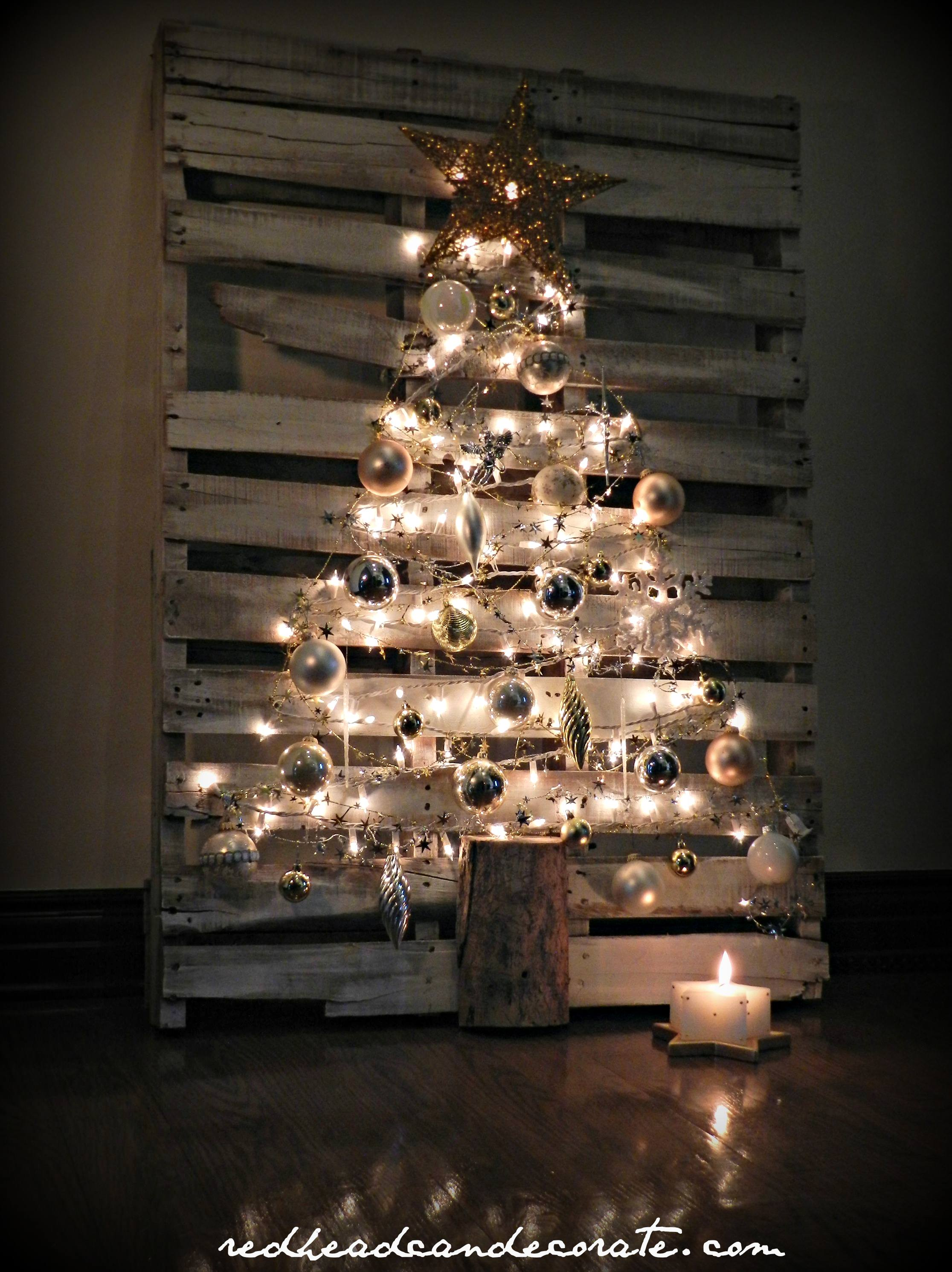 Pallet christmas tree redhead can decorate - Sapin de noel en palette ...