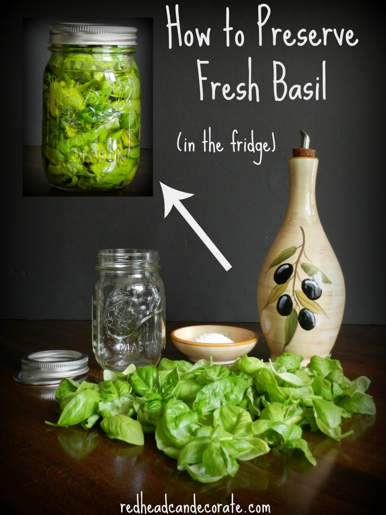 How to preserve fresh basil in the refridgerator easily.