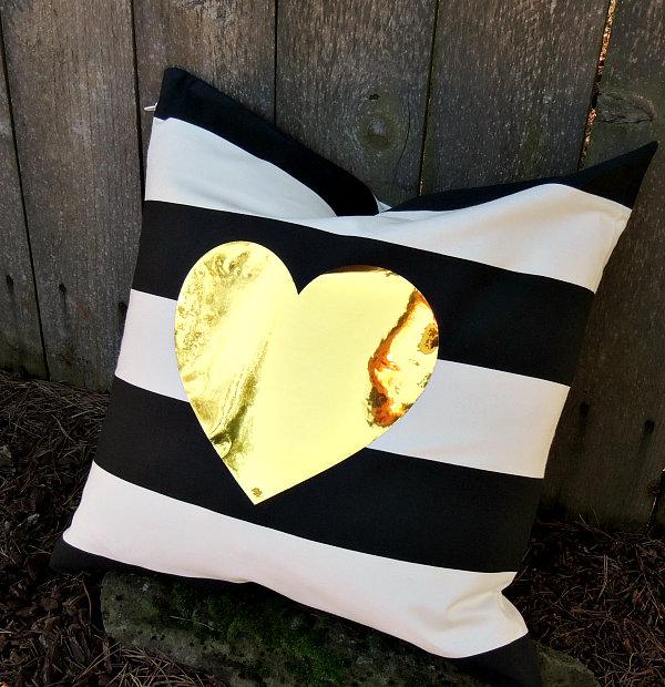 Gold Heart Pillow