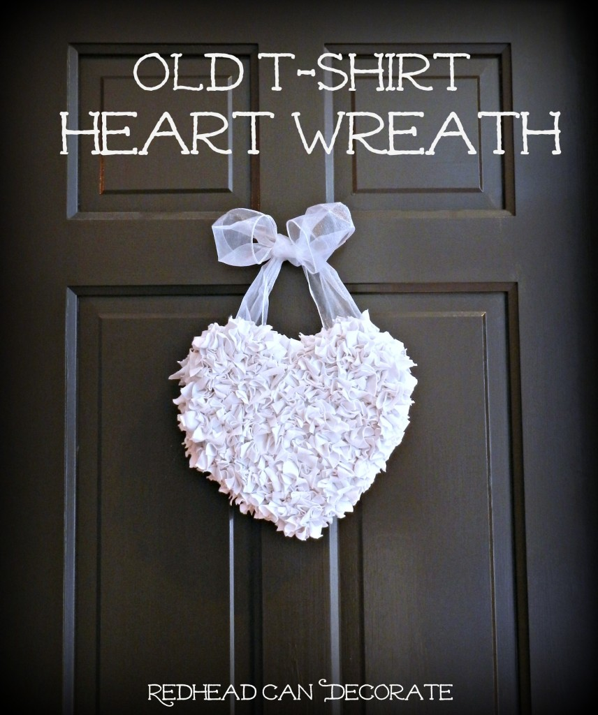 Make a cute wreath out of your hubby's old t-shirt!