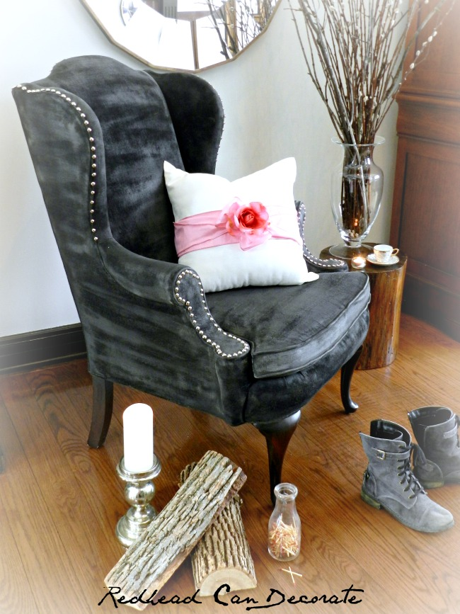 Thrift Store Chair & Pillow Makeover by Redhead Can Decorate .com