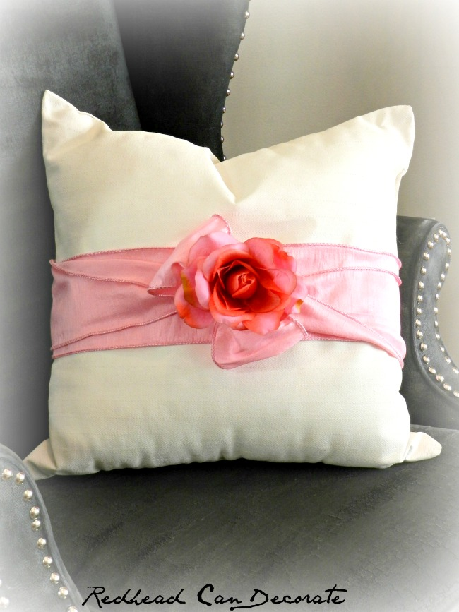 Thrift Store Pillow Makeover by Redhead Can Decorate