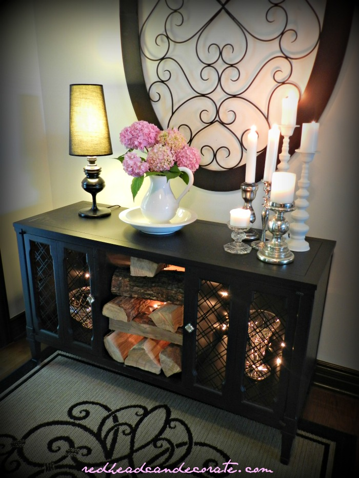 Black Stereo Console Makeover w: Thrift Store Water Basin Idea