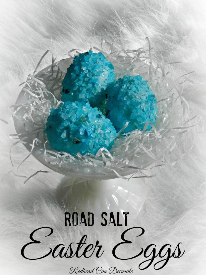 How to make beautiful Easter eggs w. blue road salt.