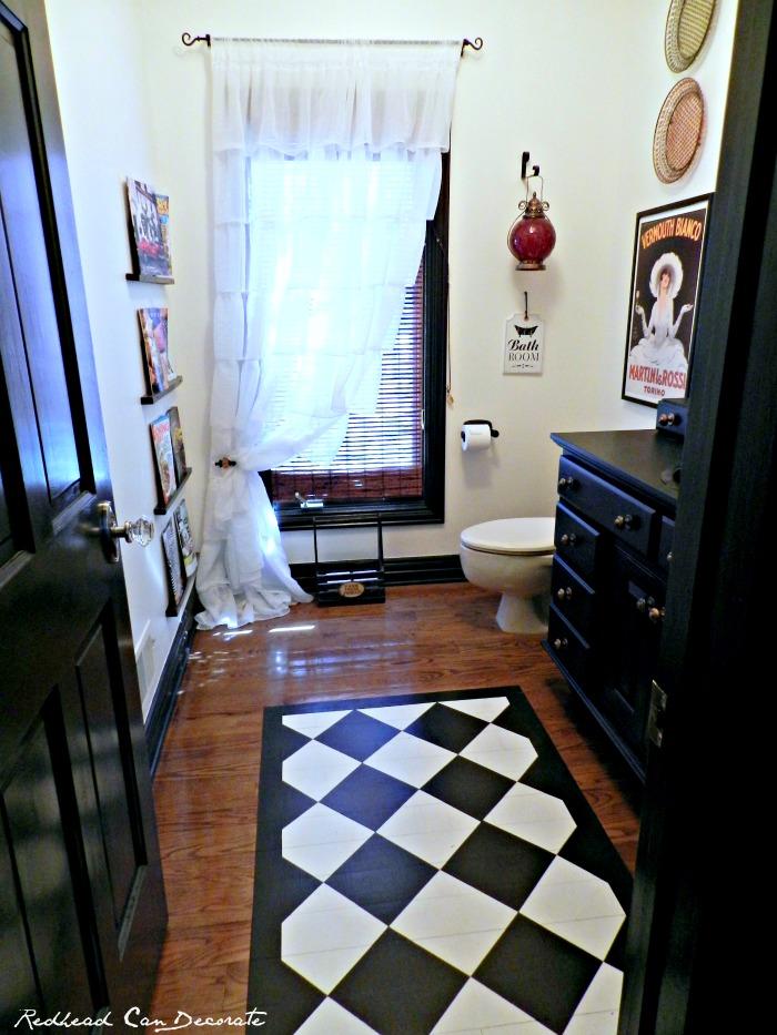 Bathroom w Ruffled Curtains
