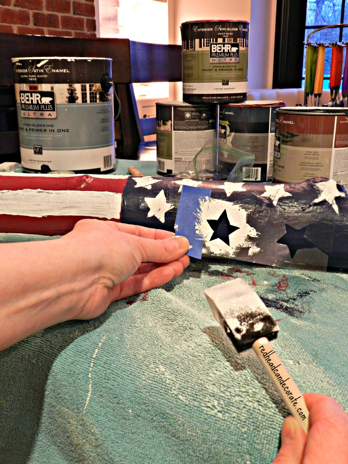 American Flag Candle Log At The Picket Fence