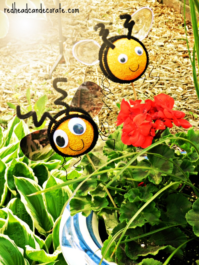 Bee Plant Sticks (recycle sunglass lenses and plastic spoons)