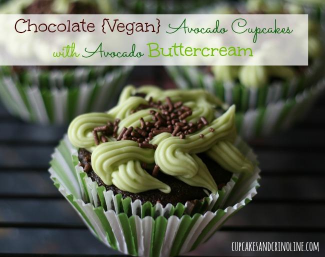 Chocolate Vegan Avocado Cupcakes with Avocado Buttercream