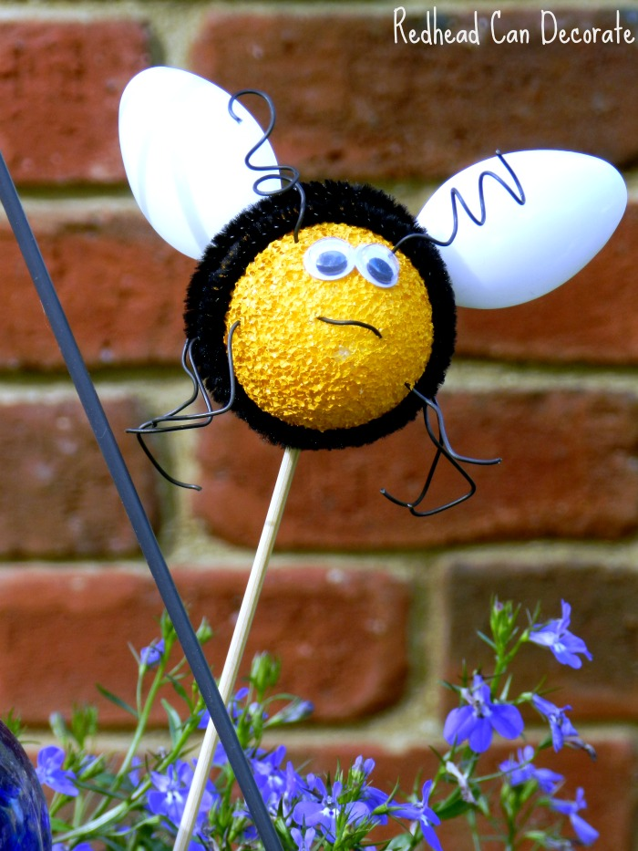 Bee flower pot plant sticks redhead can decorate for Plastic bees for crafts
