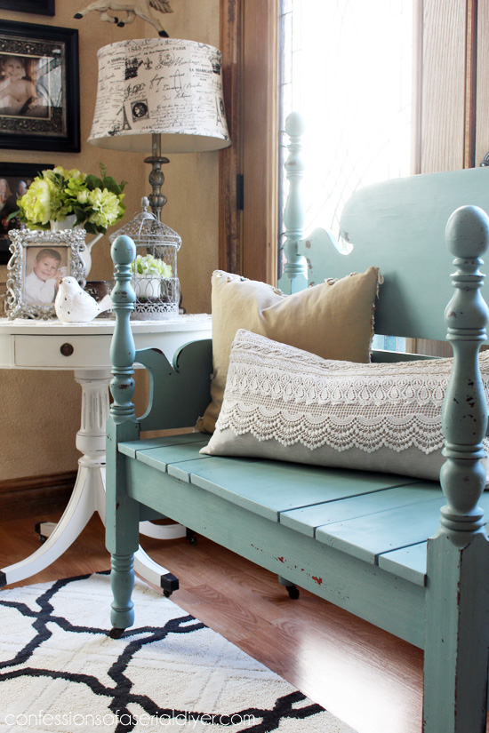 Mason Jar Blue (Junque Boutique Milk Paint) Headboard Bench