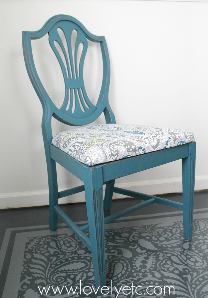 Dining Chair Reupholstered With Shower Curtain