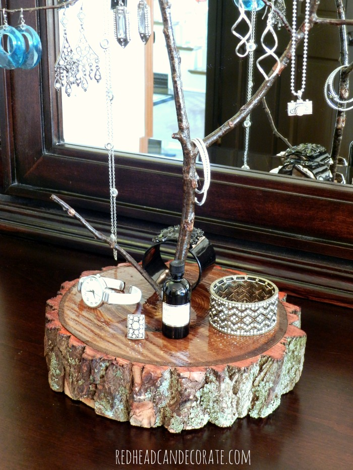 Tree branch jewelry stand redhead can decorate for Tree branch jewelry holder