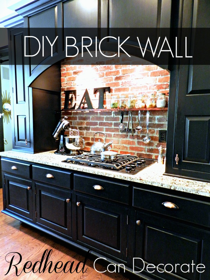 DIY Brick Backsplash - Redhead Can Decorate on cabinets above stove, lighting above stove, backsplash behind stove, tile mural above stove, subway tile above stove, decorative tile above stove, microwave above stove, accent tile above stove,