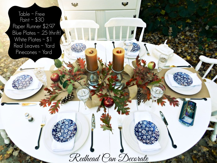 Affordable Thanksgiving Table by Redheadcandecorate.com