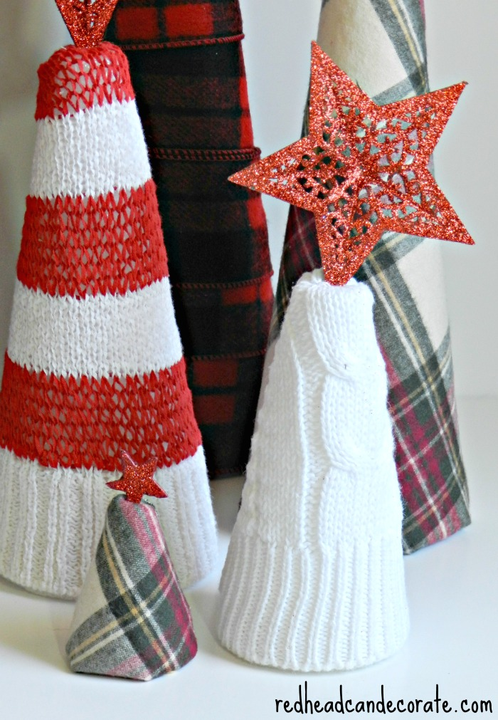Thrift Store Sweater Christmas Cones